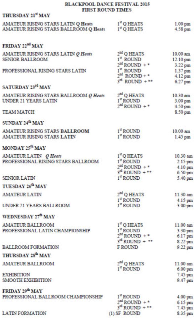 Расписание первых туров Blackpool Dance Festival 2015