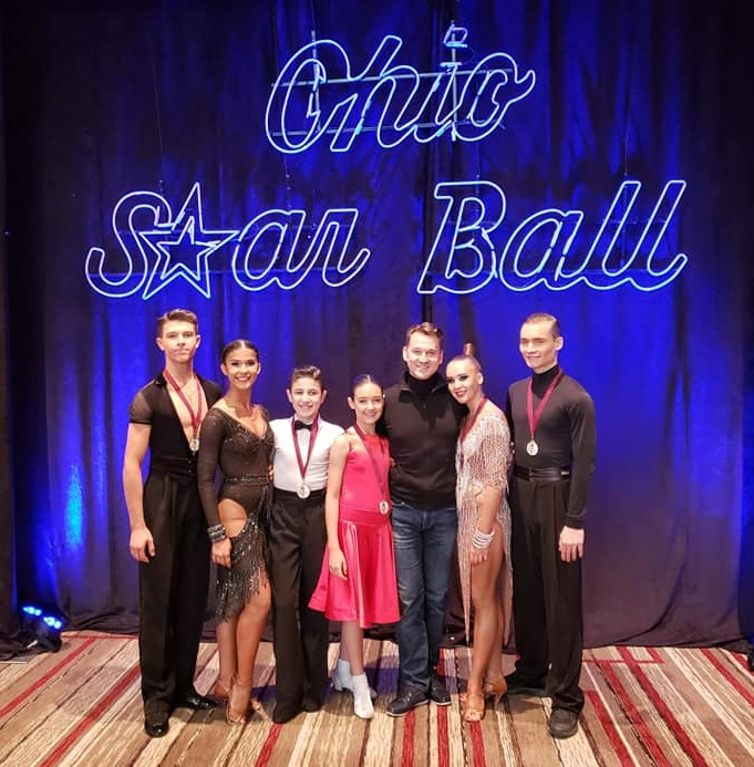 Oleksiy Bonkovskyy, Kiersten Lujan, Justin Lujan, Julia Zilman, Roman Myrkin, Vladyslava Vursalova on the Ohio Star Ball Championships 2018