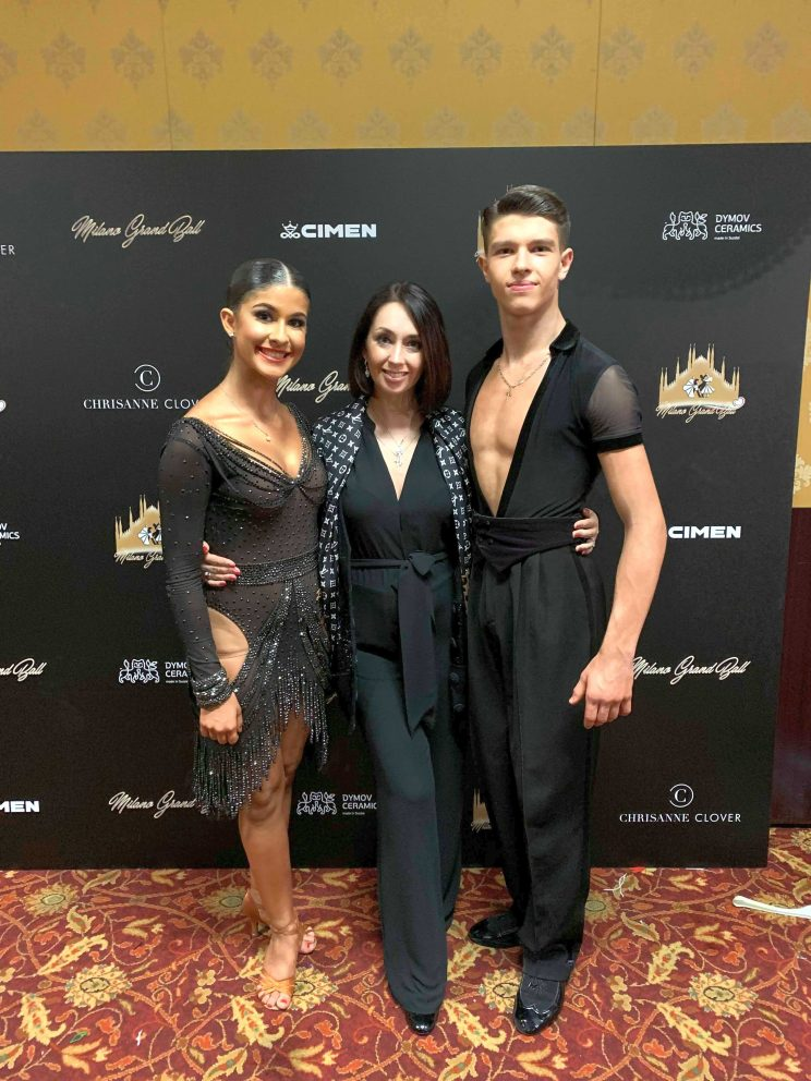 Kiersten Lujan, Alexey Bonkovskiy and Nataliia Biedniagina, Milano Grand Ball 2019